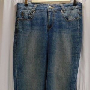Cache Womens 6 Blue Jeans Stretch Floral Embroider